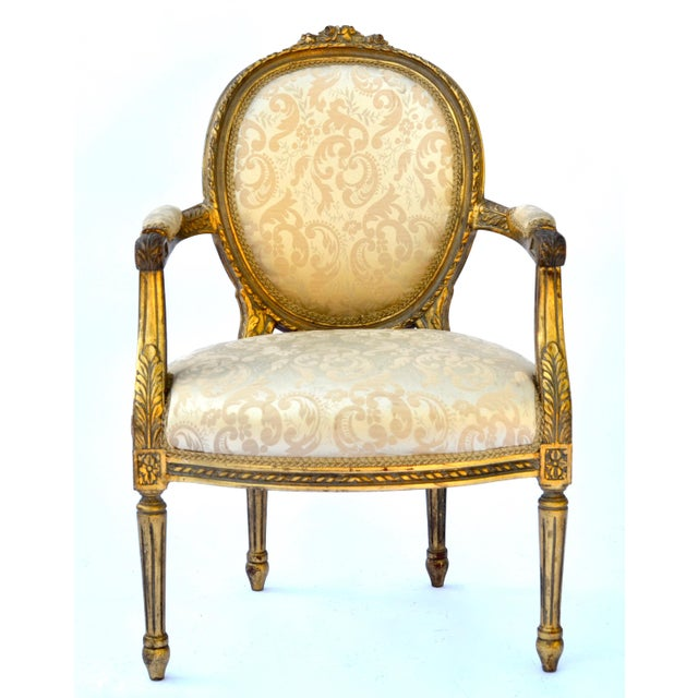 Giltwood Exceptional Louis XVI Style Gilt Fauteuils Armchairs - a Pair For Sale - Image 7 of 8