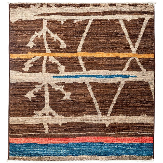 """Moroccan Hand Knotted Area Rug - 4'3"""" X 4'6"""" - Image 1 of 3"""