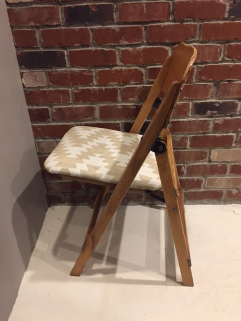 Vintage Upholstered Wooden Folding Chair   Image 3 Of 7