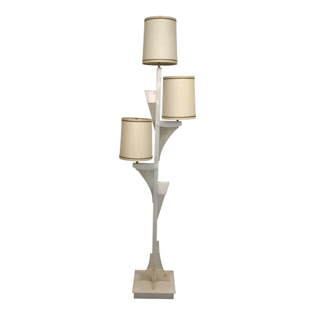 1950s Lucite Moss Studios Floor Lamp With Original Shades For Sale