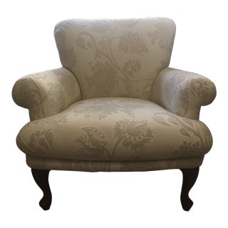 Upholstered Arm Chair With Travers Crewel-Work Fabric For Sale
