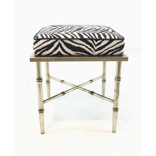 Modern Silver Bamboo Zebra Print Benches Pair Preview