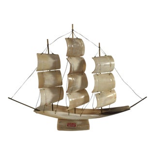 Vintage Bone Horn Ship/Sailboat