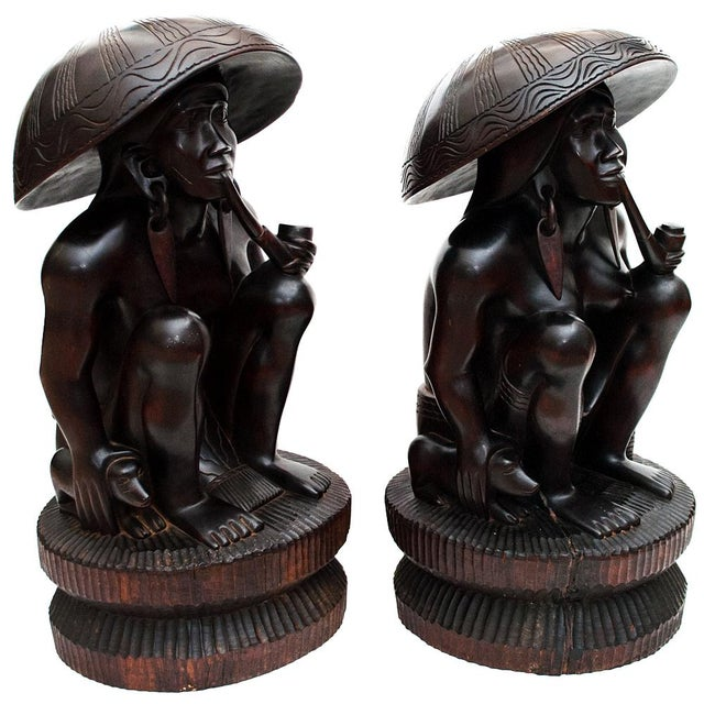 Early 20th Century Large Early 20th C. African Narra Wood Sculptures - a Pair For Sale - Image 5 of 13