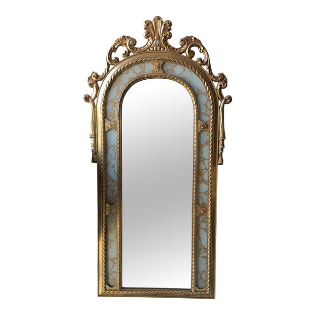 Rococo Scrolling Floor Gilded Mirror For Sale