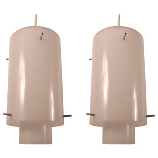 Pair of Acrylic Hanging Fixtures by Paul Mayen For Sale