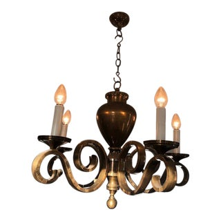 Antique 5 Arms Brass Chandelier For Sale