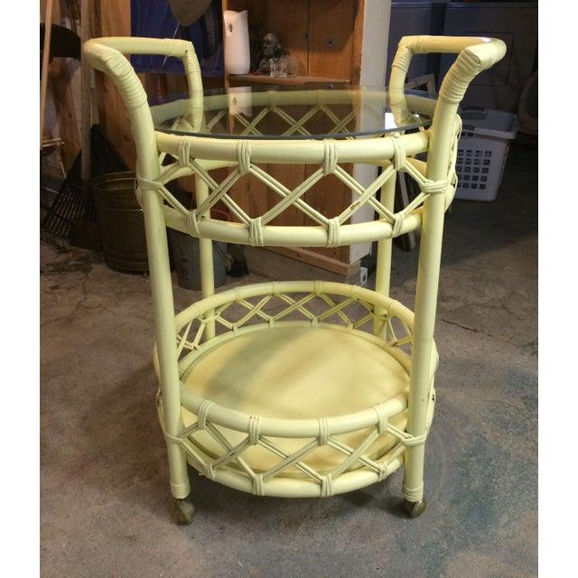 Vintage Cream Rattan Bar Cart - Image 2 of 7