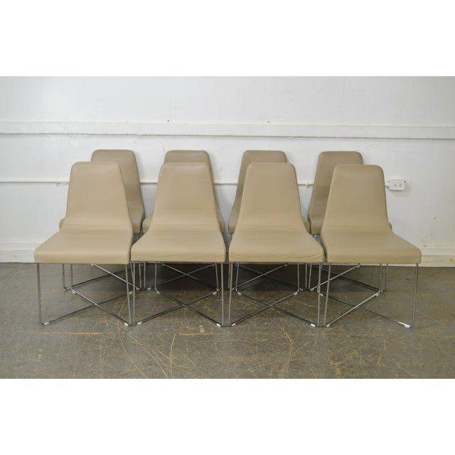 Ligne Roset Classic Modern Chrome & Leather Dining Chairs - Set of 8 For Sale - Image 9 of 10