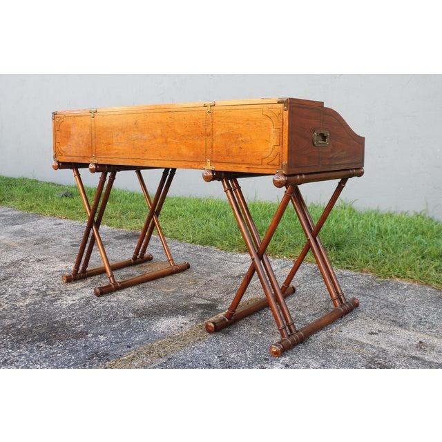 Campaign Vintage Campaign Rolltop Desk For Sale - Image 3 of 13