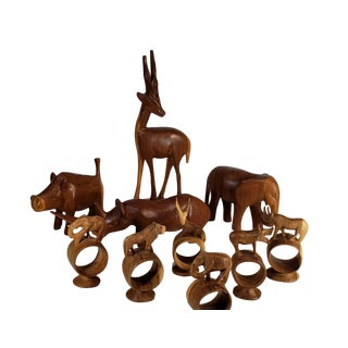 Collection of Four Large Handcarved Wooden African Animals and Six Napkin Rings - 10 Pieces For Sale