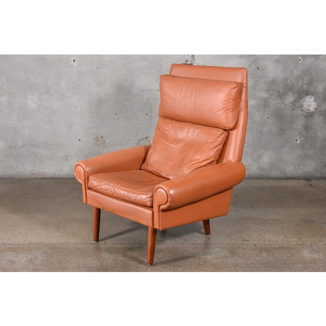 Danish High Back Leather Lounge Chair For Sale In Los Angeles - Image 6 of 6