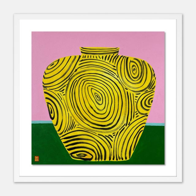 Contemporary Yellow Vase by Jelly Chen in White Framed Paper, Medium Art Print For Sale - Image 3 of 3