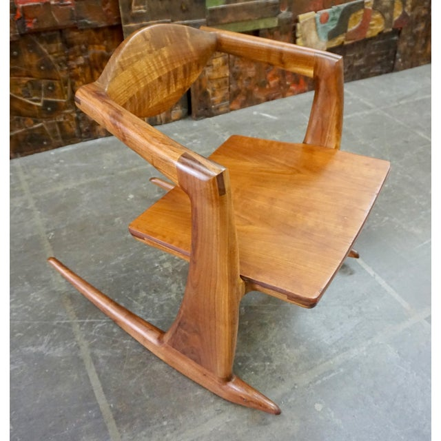 Walnut Hand Crafted Walnut Rocking Chair For Sale - Image 7 of 7