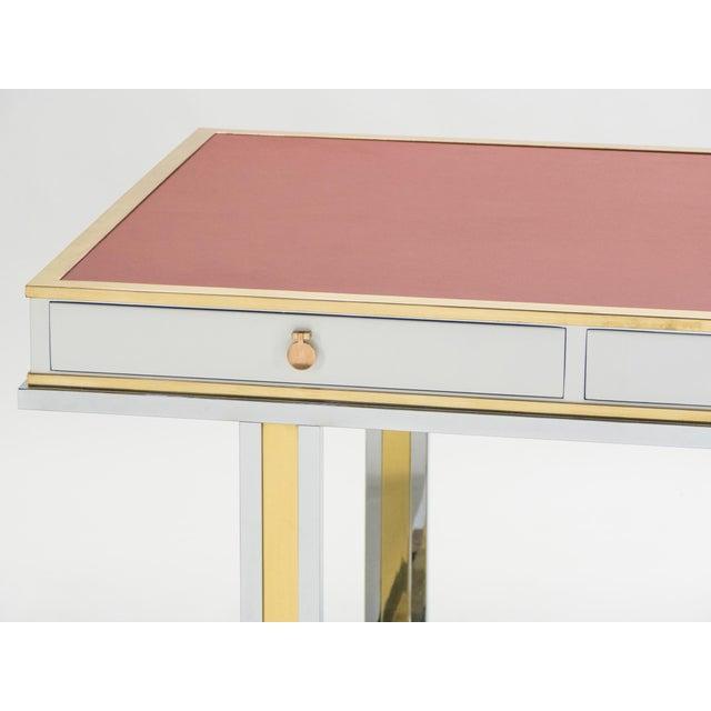 Atelier La Boetie Unique French Desk White Lacquer Brass Red Leather by Atelier La Boetie, 1974 For Sale - Image 4 of 13