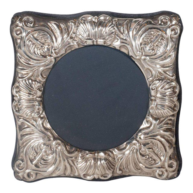 19th Century British Sterling Silver Picture Frame with Repoussé Baroque Designs For Sale