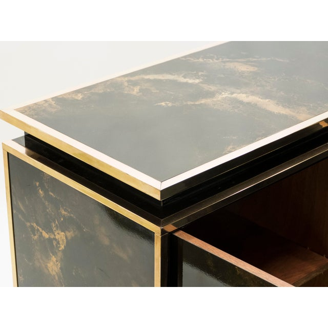 Rare Golden Lacquer and Brass Maison Jansen Sideboard 1970s For Sale - Image 10 of 13