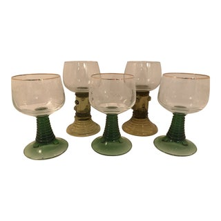 1920's Vintage Mixed Green German Roemer Wine Glass Goblets- Set of 5 For Sale