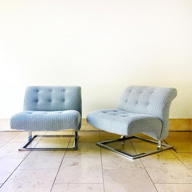 A Pair of Cantilevered Chromium Steel Framed Lounge Chairs by Thayer Coggin 1960s Reupholstered by Talismans UK workshops...