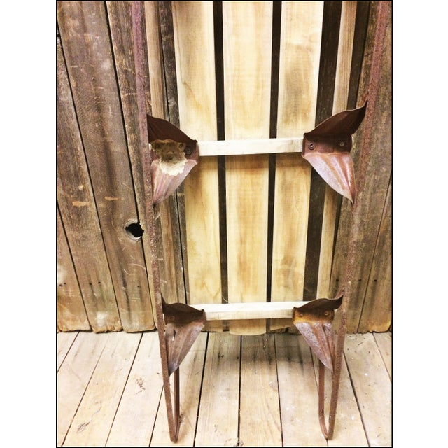 Vintage Brown Weathered Wood & Metal Runner Sled For Sale - Image 10 of 11