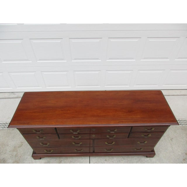 Brown Chippendale Style 10-Drawer Dresser -By National Mt. Airy For Sale - Image 8 of 11