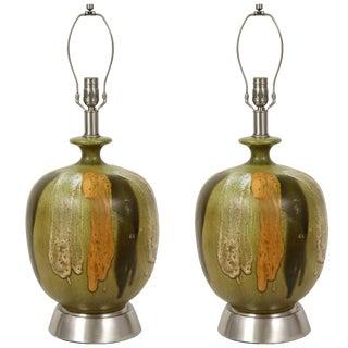 1960s Italian Earthtone Glazed Lamps - a Pair For Sale