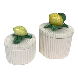 Ceramic Lemon-Topped Lidded Dishes - A Pair