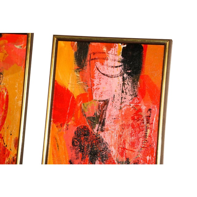 "Pair of Mid Century Abstract Expressionist Oils on Board Signed Lower Right ""Griffin"". The paintings are in the style of..."