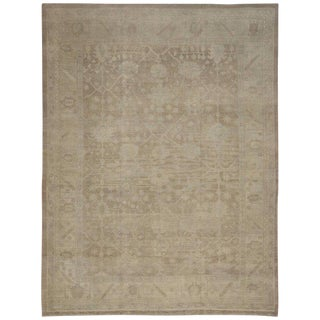 Modern Turkish Oushak Rug in Warm, Neutral Colors, 12.07 x 16.05