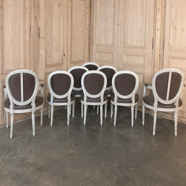 Set of 8 Antique French Louis XVI Dining Chairs Includes 2 Armchairs For Sale - Image 12 of 13
