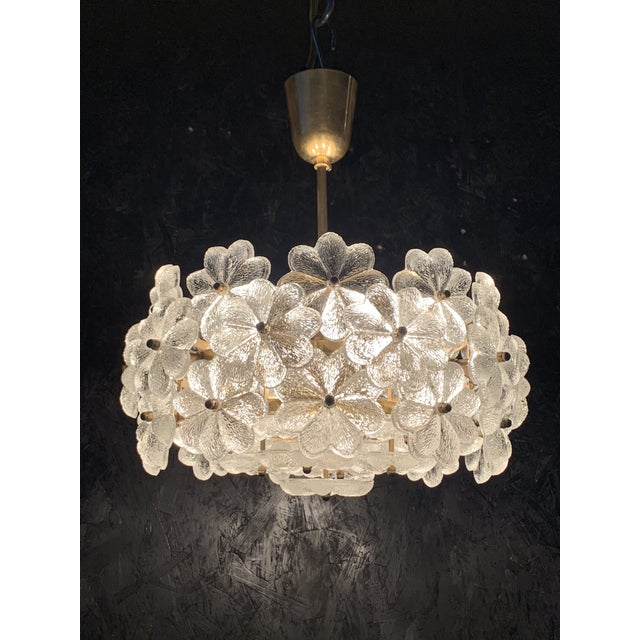 Small Ernst Palme Floral Glass Chandelier For Sale In Los Angeles - Image 6 of 10