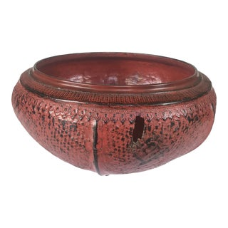 Mid 19th Century Large Red Lacquer Bowl For Sale