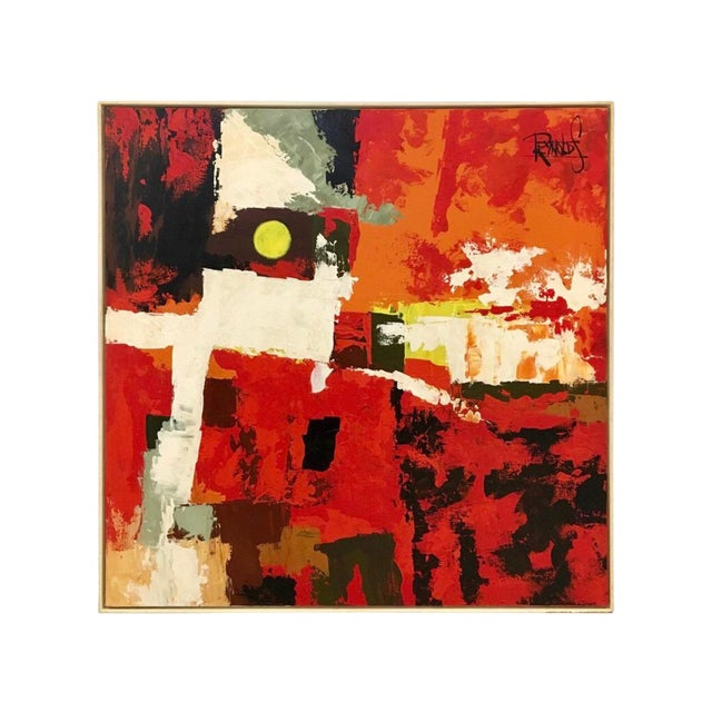 1970s Abstract Original Oil Red Abstract Oil on Canvas Painting by Reynolds For Sale
