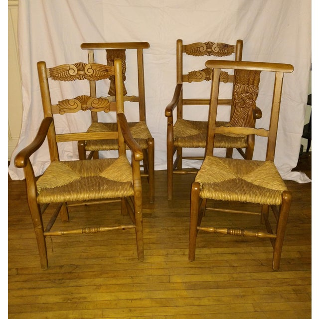1970s French Country Hand Carved Rush Seat Chairs - Set of 4 For Sale - Image 13 of 13