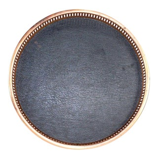 Vintage Mid Century Modern Copper Leather Wood Barware Tray For Sale