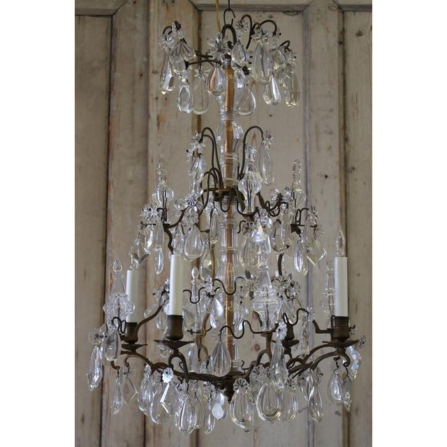 ANTIQUE BRONZE AND CRYSTAL BIRDCAGE CHANDELIER SKU Number: 5141633603  Description: Pretty antique French five - Antique French Bronze And Crystal Chandelier Chairish