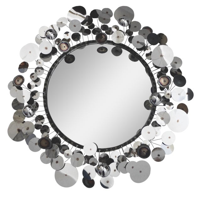 Curtis Jere Raindrops Silver Sculpture Wall Mirror - Image 1 of 5