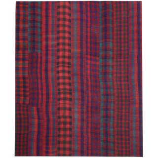 Vintage Modern Rustic Lodge Style Tartan Plaid Area Rug - 13′2″ × 16′ For Sale