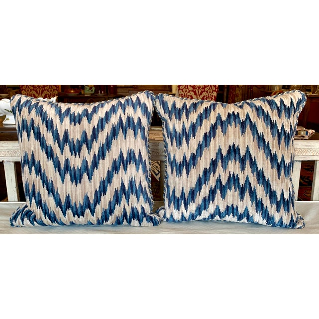 2010s Contemporary Clarence House Cut Velvet Chevron Pattern Pillows - a Pair For Sale - Image 5 of 5