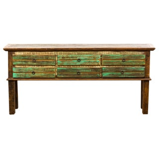 Antique Peroba Wood Console Table