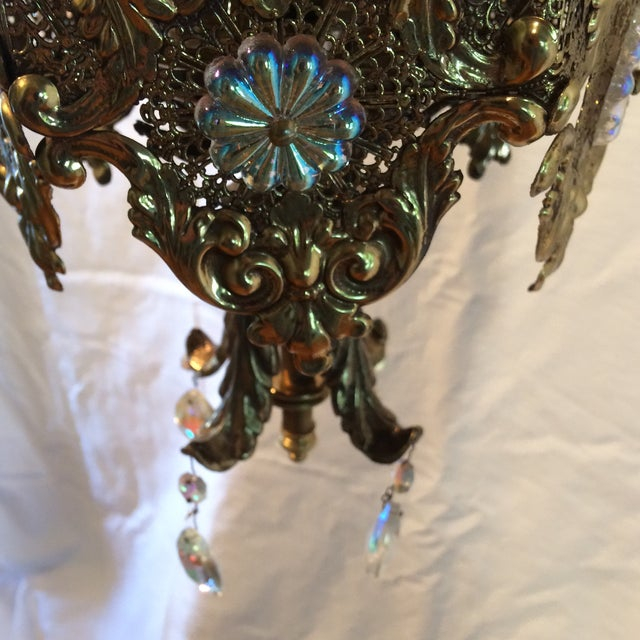 Vintage 60's Brass Filagree With Opalescent Crystals Swag Pendant Light For Sale - Image 9 of 11