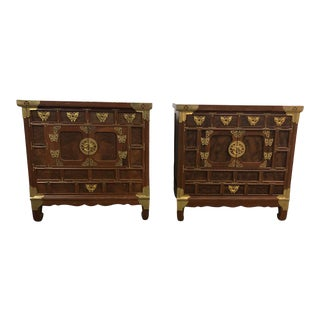 Asian Style Brass Detailed Nightstands - a Pair For Sale