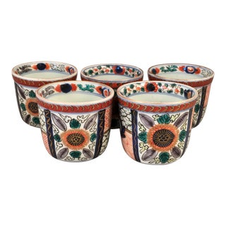 Antique Chinese Hand Painted Porcelain Teacups - Set of 5 For Sale