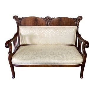 Vintage Victorian White Loveseat For Sale