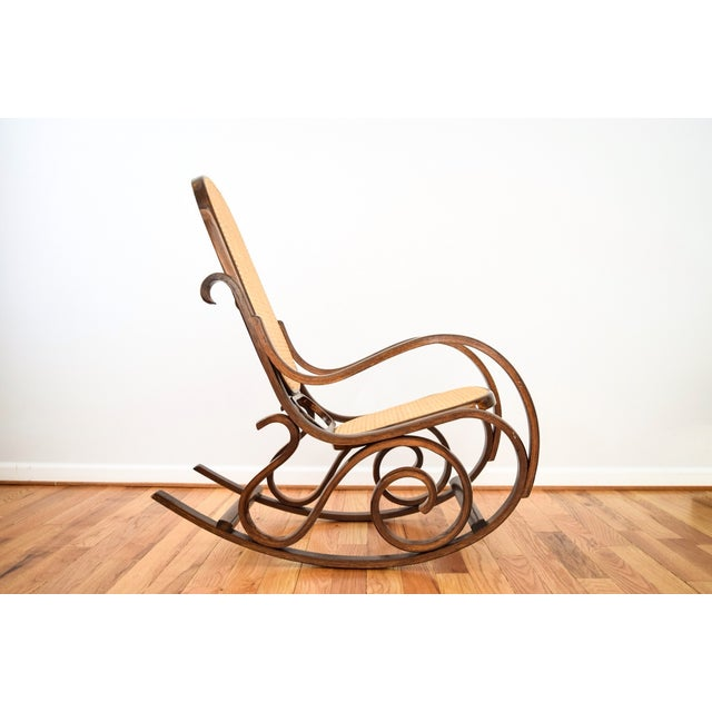 Vintage Thonet Style Bentwood Cane Rocking Chair - Image 3 of 6