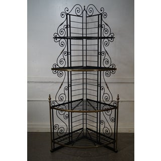 Vintage Pair of Quality French Country Black Iron & Brass Corner Bakers Racks Preview