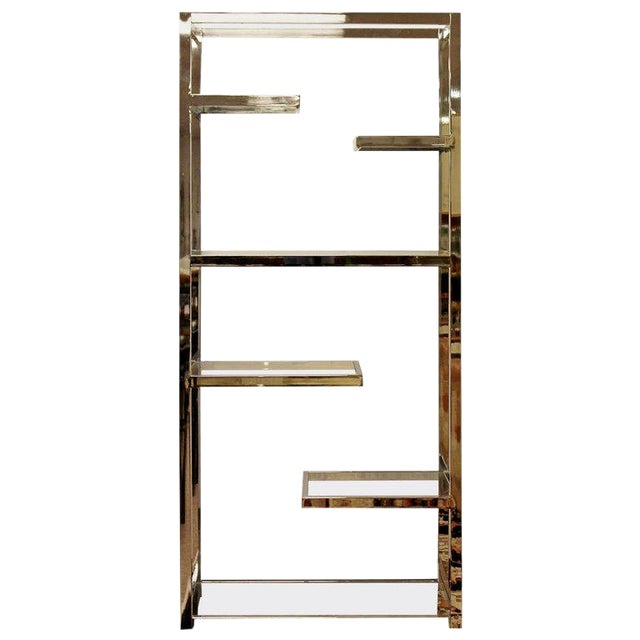 Mid-Century Modern Milo Baughman Chrome & Glass Shelves Etagere 1970s For Sale
