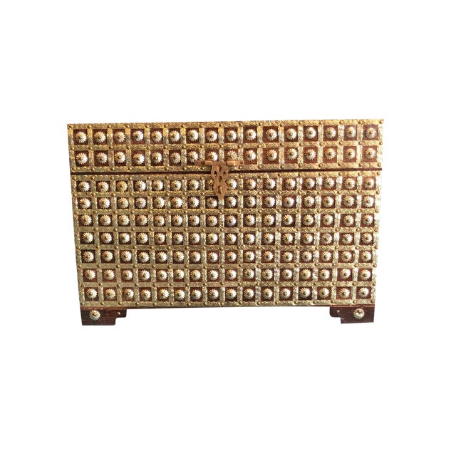 20th Century Asian Antique Brass Studded Chest Wedding Trunk For Sale