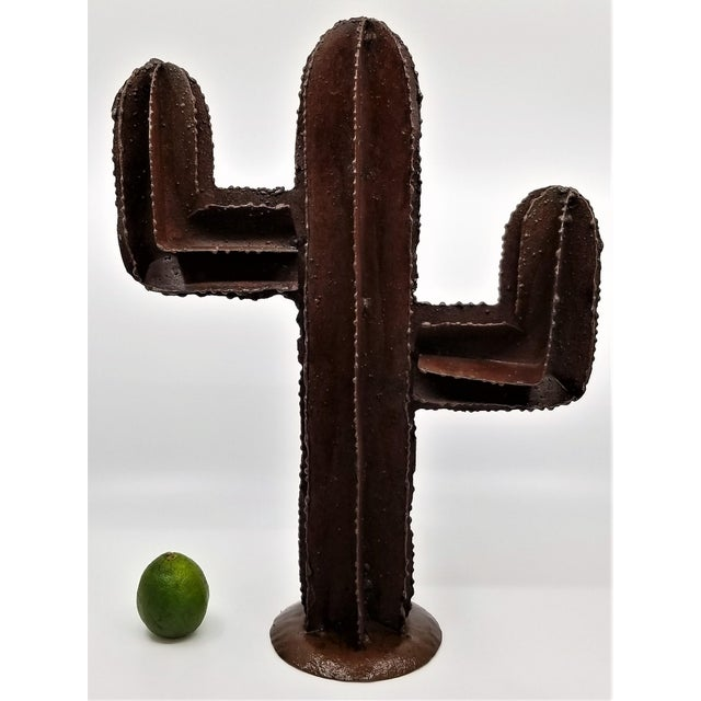 Vintage Brutalist Welded Metal Cactus Table Sculpture For Sale - Image 4 of 13