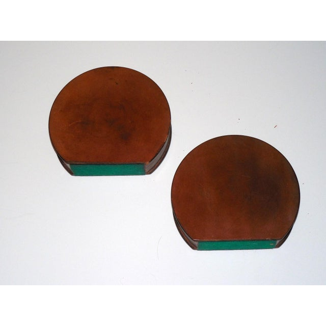 Modernist Round Leather & Brass Bookends - a Pair For Sale - Image 9 of 10